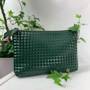 Ipsy army green faux leather cosmetic bag NWOT